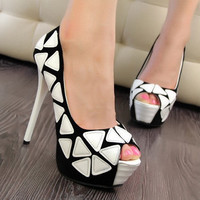 Mixed Color Peep Toe Pumps for Women HJT