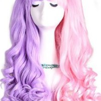 L-email 50-60cm Pink&purple Long Lolita Clip on Ponytails Wavy Cosplay Hair Wig C22-d