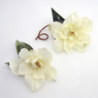 Ivory Woodland Wedding Flower Hair Clips by Sweet Little Sparrow