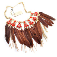 Samba Gold Plated Red Gemstones Coffee Feather Tassel Pendant Chokers Necklace