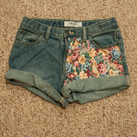 Denim High Waited Floral Panel Shorts