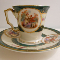 Demitasse cup and saucer occupied Japan by ButterBeanVintage