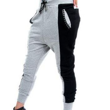 Gray and Black Colorblock Harem Pants with Studded Pocket De