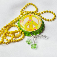 Peace sign necklace with crystals