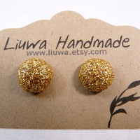 Gold Glitter Dot Post Earrings Polymer Clay Studs by Liuwa on Etsy