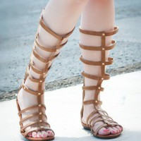 DBDK Kelacila-1 Knee High Gladiator Strappy Sandal (Cognac) - Shoes 4 U Las Vegas