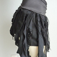 Pixie Skirt Belly Dance Fringe Hip Scarf / Wrap / Skirt black  /  Frindges Lace dark fairy victorian upcycled