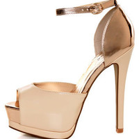Qupid Tatum 32 Nude Patent Metallic Platform Pumps - &amp;#36;37.00