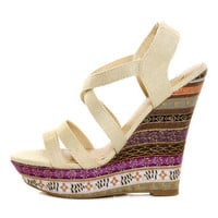 My Delicious Bruno Natural Floral Striped Platform Wedges