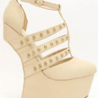 Beige Strappy Curved Wedges with Gold Studs
