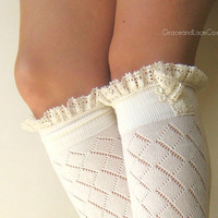 Lacey Dainty Sock OffWhite boot socks open by GraceandLaceCo