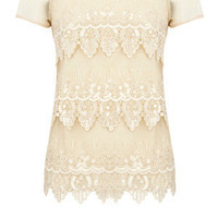 Oasis Shop | Off White Sequin Scallop T-Shirt | Womens Fashion Clothing | Oasis Stores UK