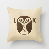 Look Throw Pillow by Terry Fan