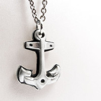 Silver anchor necklace  nautical jewelry eco by lulubugjewelry