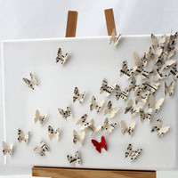 3D butterfly wall art collage on Canvas- upcycled vintage sheet music and red card butterflies- First paper anniversary gift- 9.5x7 inch