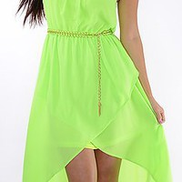 Great Glam Sexy Neon Yellow/Green High Low Belted Dress