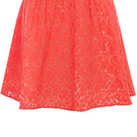 Oasis Skirts | Coral Orange Lace Skater Skirt | Womens Fashion Clothing | Oasis Stores UK