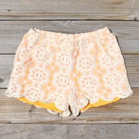 Apricots & Lace Shorts, Women's Sweet Bohemian Clothing