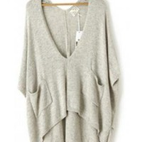 Gray Big V-neck Hi-low Hem Batwing Sweater