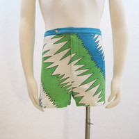 60s Shorts Mens Vintage Swim Trunks Swimsuit Swimwear MOD Electric S M