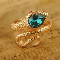 Blue Rhinestone Head Golden Snake Wrap Ring