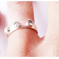 $295.00 three cubic zirconia stoned engagement ring (diamonds available) by lovinganvil