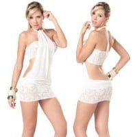 Woman Sexy Lace Lingerie Stripper Teddy Black White Babydoll See-through Cocktail Dress Size Medium