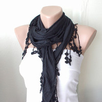Black Black Coal black coton with lace scarf by Periay on Etsy