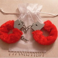 Sexy Soft Red Steel Fuzzy Furry Handcuffs Fur Trimmed Sex Toy Hand Cuffs:Amazon:Everything Else