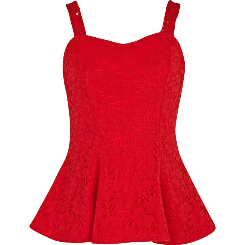 girls red lace peplum top   tops   from river island clothing