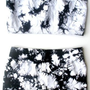 Bandeau Top &amp; Shorts Set For Exercise Dance &amp; Yoga - Tie Dye Black &amp; White