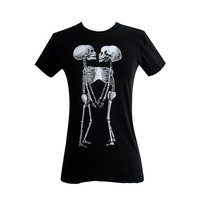 Siamese Twins Skeleton T Shirt - Horror Goth Print American Apparel Ladies Shirt - (Available in sizes S, M, L, XL)