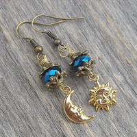 Moon Earrings, Sun Earrings, Crescent Moon, Half Moon, Moon Jewelry, Mismatched Earrings, Gold Earrings, Celestial, Half Moon Jewelry, Sun,