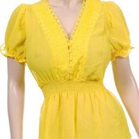 Sexy Yellow Victorian Lace Peasant Blouse S M L XL