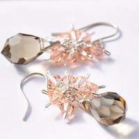 Cluster Crystal Earrings in Black Diamond and Pastel Peach by GueGueCreations