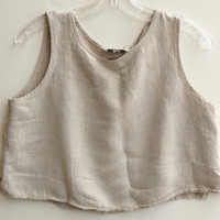 Vintage Camel Colored Natural Texture Tank Top Cropped Fit Shirt Boho
