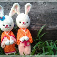 Cute bunnies couple crochet dolls in orange by thujashop on Etsy