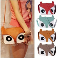 Womens Retro Leather Cute Fox Bag