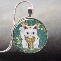 Maneki Neko Teal art pendant charm resin by thependantemporium