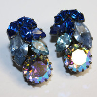 Vintage Blue AB Rhinestone Earrings Austria by patwatty on Etsy