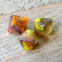 Lampwork Beads, Citrus Chrystals, Handmade Lampwork Jewelry Supplies
