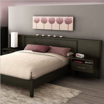 South Shore Gravity Headboard and Nightstands Kit in Ebony Finish