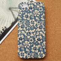Retro Blue Little Flowers Fabric Phone Case