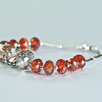 Crystal Beaded Bracelet / Swarovski Crystal Autumn by DevikaBox