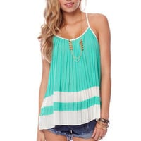 Two in a Row Pleated Tank Top in Emerald :: tobi