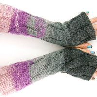 long knit fingerless gloves knit arm warmers fingerless mittens knit ribbed zigzag grey purple ombre fashion tagt team