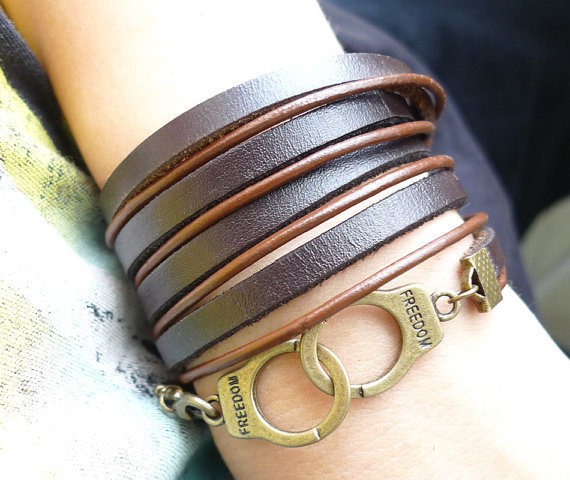 5 circles Brown Leather Wrap With Copper Handcuffs