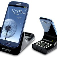Bolse Dual Desktop Charger Cradle Dock with Spare Battery Charging Slot for Samsung Galaxy S3 I9300, with audio output