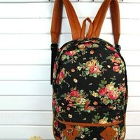 Backapck Women girl lady Fashion Vintage Cute Flower School Book Campus Bag Backpack Color : Black BB 05:Amazon:Everything Else