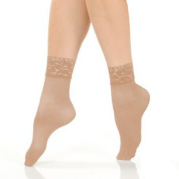 Angelina Nylon/Spandex Sheer Anklet Stocking with Lace, 6-Pair Pack. #321